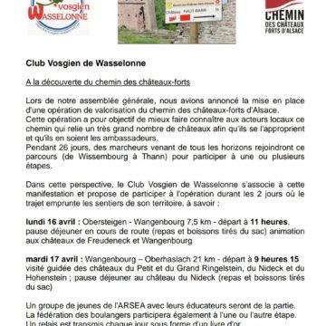 A la découverte du chemin des châteaux-forts avec le Club-Vosgien
